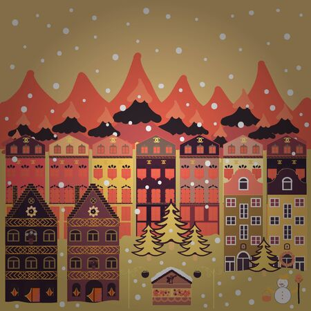 Vector pattern with various cartoon houses. Vector illustration. Christmas illustration on beige, orange and purple colors.