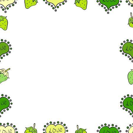 Vector illustration. Seamless. Hand drawn vector border frame doodles. Foto de archivo - 129160234