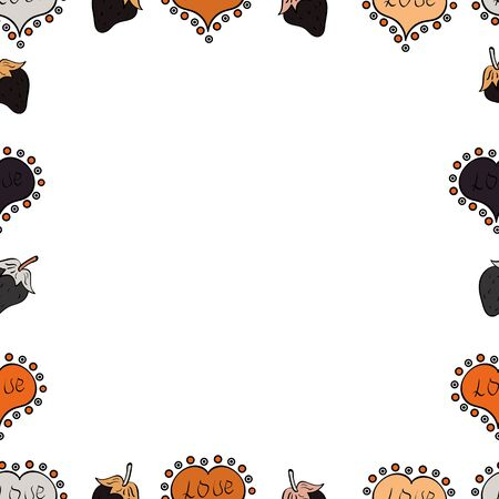 Seamless. Picture in orange, gray and white colors. Foursquare frames doodles. Vector.