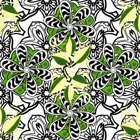 Beautiful leaves on green, black and white colors. Seamless graphic design with amazing leaves. Raster illustration. Fall leaves background.