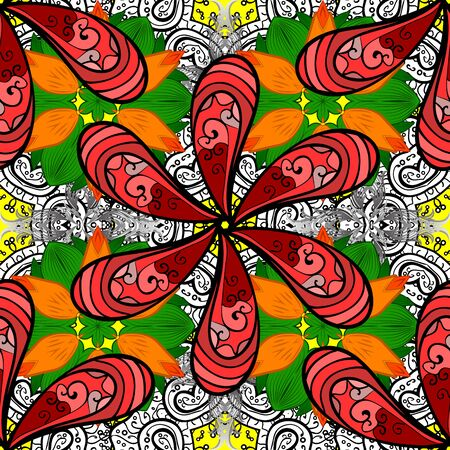 Colorful seamless pattern with cute flowers, paisley, red, orange and black colors. Hand drawn flower seamless pattern (tile). Watercolor seamless pattern for textile.