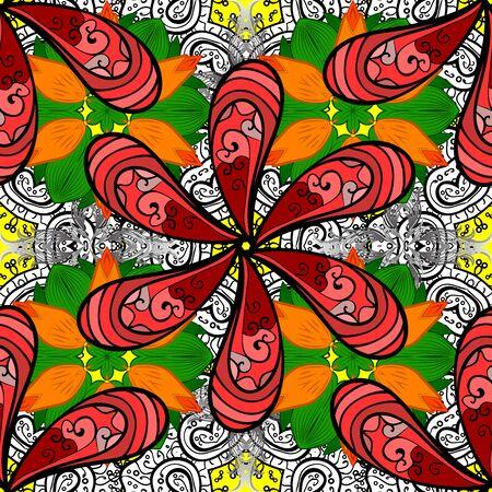 Patrón transparente de colores con flores lindas, paisley, colores rojo, naranja y negro. Mano dibujada flor de patrones sin fisuras (azulejo). Acuarela de patrones sin fisuras para textil. Ilustración de vector