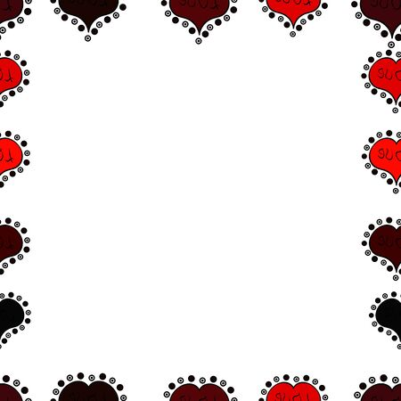 Frame doodle. Illustration in red, white and black colors. Raster element template. Seamless pattern.