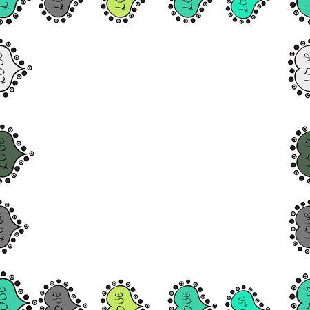 Illustration in white, black and green colors. Seamless pattern. Quadrate frames doodles. Raster illustration.