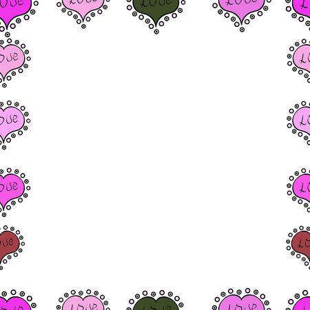 Raster illustration. Seamless. Comic style doodle frame consists of black, pink and white border.