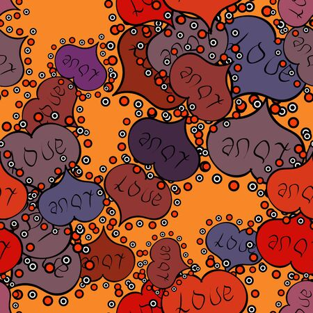 Orange, black and purple textured smears heart shapes raster objects isolated with orange, black and purple elements on background.