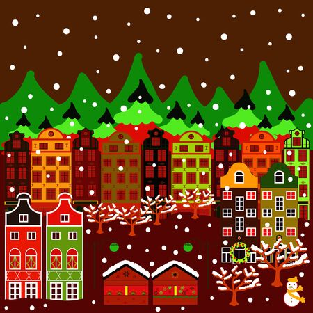 Can be printed and used as wrapping paper, sketch, textile, fabric, etc. Vector with houses and wild forest life with mountans. Picture on green, red and brown colors. Vector illustration.