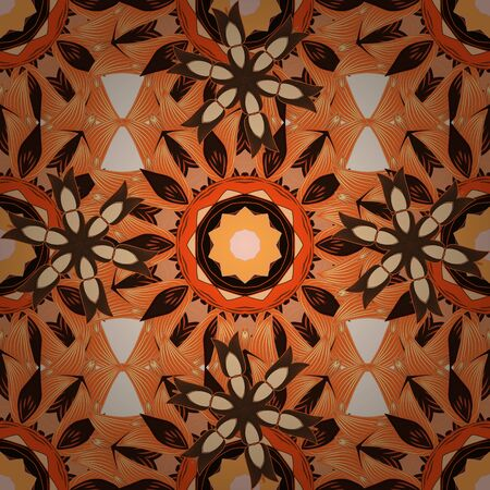 On beige, orange and brown colors. Vector abstract pattern page for antistress. Vector illustration.