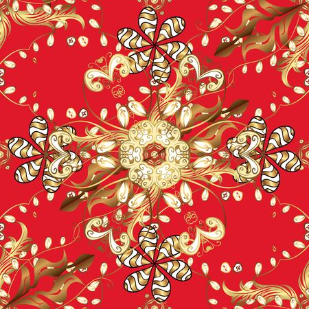 Seamless oriental ornament in the style of baroque. Traditional classic golden vector pattern on red and brown colors with golden elements.