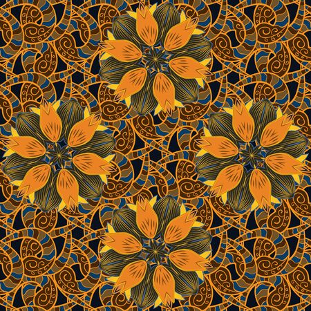 Flower seamless on orange, brown and gray colors. Flowers on orange, brown and gray colors. Vector illustration. Floral pattern. Flourish ornamental spring garden texture.
