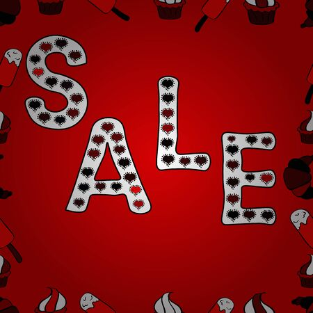 VIP SALE starts today promo banner with lettering word SALE. SALE Promotion banner, price tag, discount sticker, badge, poster. Vector. Seamless. Illustration in red, white and black colors.