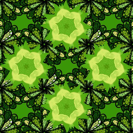 Modern floral background. The elegant the template for fashion prints. Amazing seamless floral pattern with bright colorful flowers and leaves on a black, yellow and green colors. Folk style. Stock fotó - 129497577