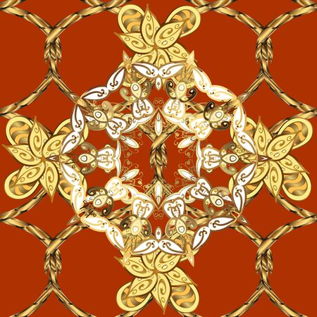 Vector illustration. Seamless abstract background. Oriental vector classic yellow and orange and golden pattern.