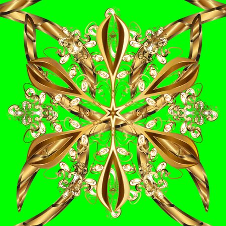 Ornamental floral elements with henna tattoo, golden stickers, mehndi and yoga design, cards and prints. Pattern on green and brown colors. Vector golden mehndi seamless pattern.