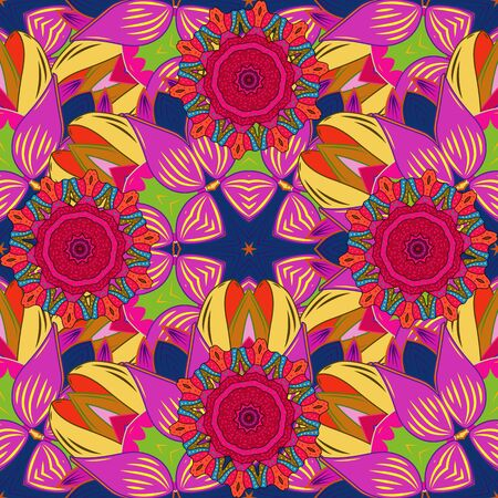 Vector illustration. Cute pattern with small flowers. Floral pattern with flowers and leaves.