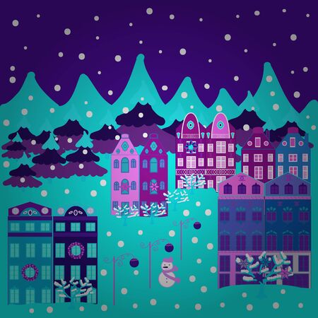 Vector cartoon drawing of Christmas suburban houses with making a snowman. Vector illustration. Illustration on purple, violet and blue colors.  イラスト・ベクター素材