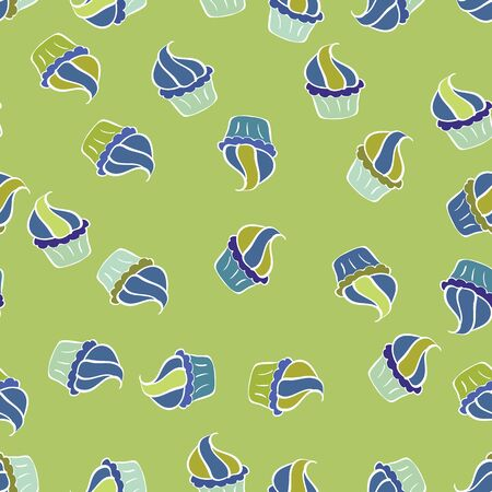 Seamless pattern with sweets - ice cream, cupcakes. Vector illustration. Can use for birthday card, the children menu, packaging, textiles, fabrics, sketch. Isolated in white, blue and green colors