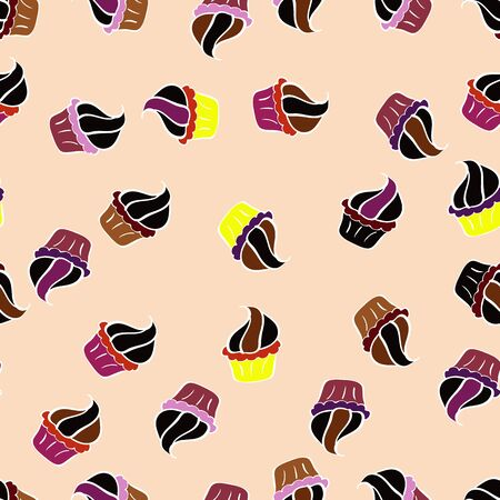 Pattern on black, white and beige. Vector illustration. Seamless of Variety Muffins, Poppy seed, Chocolate Chip, Pumpkin Cream, Chocolate and Delicious Breakfast or Dessert Muffins. Illustration