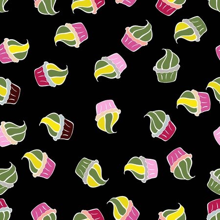 Seamless pattern with sweets - ice cream, cupcakes isolated on cute black, green and white background. Can use for birthday card, the children menu, packaging, textiles, fabrics, sketch. Vector art.