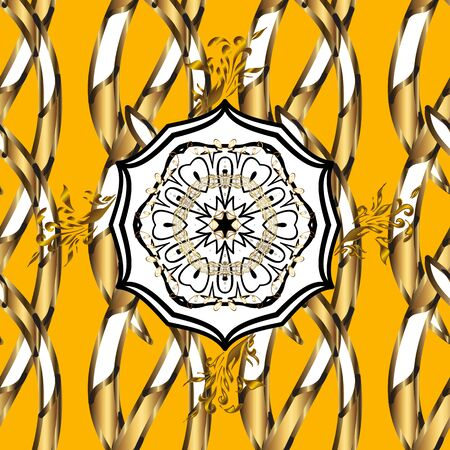Islamic colored mandala round ornament on yellow and white colors. Can be used for brochures invitations, persian motif. Vector architectural muslim texture design. Çizim