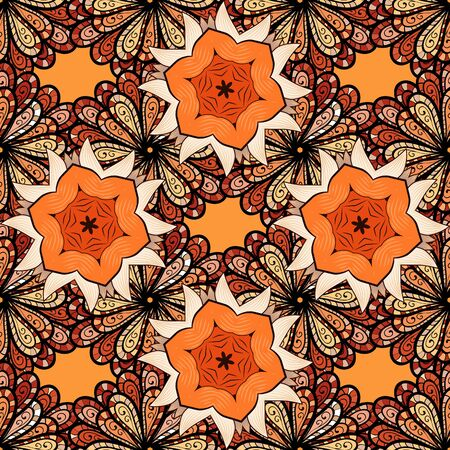 Vector. Beautiful watercolor flowers, bright painting inspiorange, beige and black flower print seamless background.