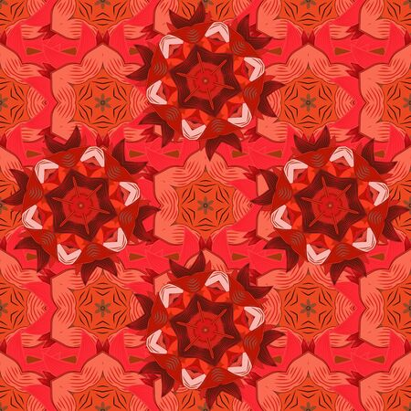 Sacred geometric vector symbol with many petals flower. Colored mandala logo on orange, beige and red colors.