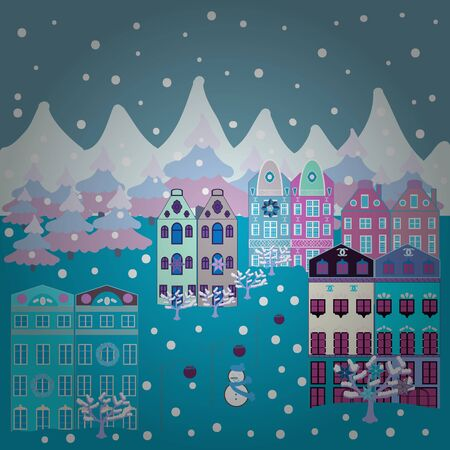 A fairytale village with bright houses and trees, hills, mountans, snowman. For design background. Panorama on neutral, blue and white colors. Vector illustration. Çizim