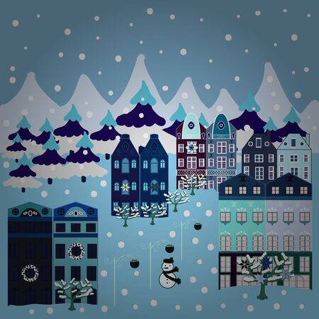 Vector illustration. Pattern houses. Illustration on neutral, gray and blue colors.