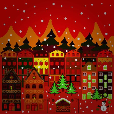 Panorama on orange, red and brown colors. A fairytale village with bright houses and trees, hills, mountans, snowman. Vector illustration. For design background.