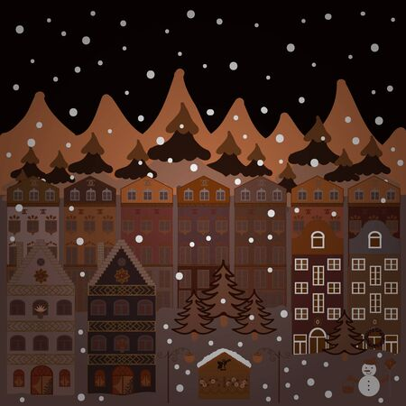 Winter houses for Christmas and Christmas fabrics packaging paper and decor on brown, black and neutral colors. Vector illustration.
