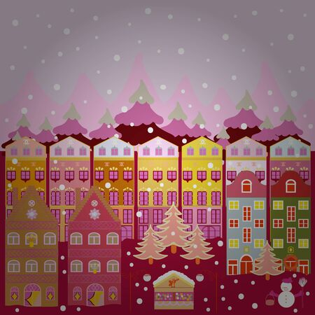 Landscape on pink, neutral and purple colors background. Vector Abstract Architecture Illustration. Houses. Flat Design Urban.