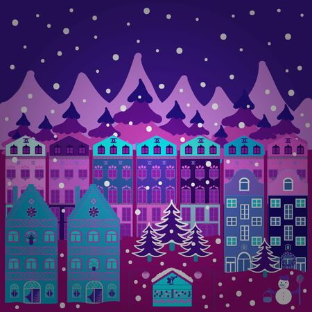 Doodle houses vector background. Nice buildings on purple, blue and violet colors. Vector illustration.