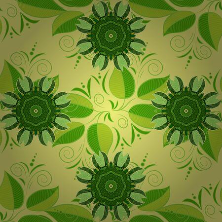 Floral green, yellow and black seamless pattern. Vector Tender fabric pattern. Vintage outline illustration. Vector flower print. Ilustração