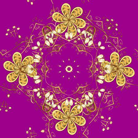 Arabeschi in stile orientale. Pizzo brillante, fiori stilizzati, paisley. Vettore. Delicato motivo dorato. Modello senza cuciture sui colori viola e gialli con elementi dorati. Riccioli di struttura dorata senza soluzione di continuità. Vettoriali
