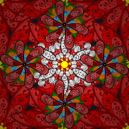 Seamless pattern with abstract ornament. Vector Hand drawn  floral orange, black and red colors.