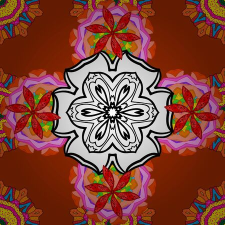 Henna tattoo style on a red, white and orange colors. Can be used for textile, greeting card, coloring book, phone case print. Vector ethnic Mandala ornament. Indian floral paisley medallion banners. Banque d'images - 131337634