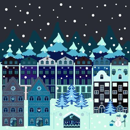 Vector. Unusual christmas illustration postcard. Amazing Decorated house decorated at christmas of christmas neutral, gray and blue colors in magical forest and hills.