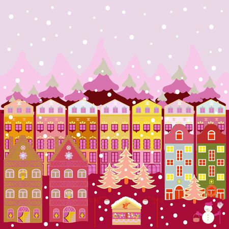 Christmas illustration on neutral, pink and purple colors. Vector illustration. Vector pattern with various cartoon houses.