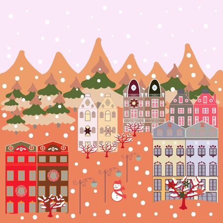 Christmas illustration on orange, beige and neutral colors. Vector illustration. Vector pattern with various cartoon houses.