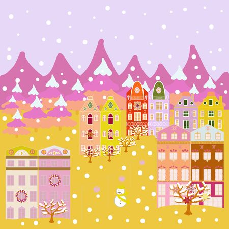 Unusual christmas illustration postcard on pink, yellow and neutral colors. Amazing fairy house decorated at christmas in magical forest. Vector illustration. Çizim