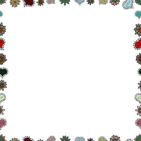 Vector illustration. Decoration pattern style. Seamless. Illustration in white, gray and neutral colors. Border design is pattern in doodles art style. Decorative vintage frames and borders. Иллюстрация