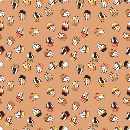Sweets background design. Vector illustration. Cute birthday background on black, white and beige. Pale black, white and beige seamless pattern with cupcakes. Çizim