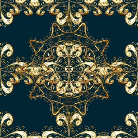Damask gold abstract flower seamless pattern on brown, blue and beige colors. Ornate decoration. Vector illustration.