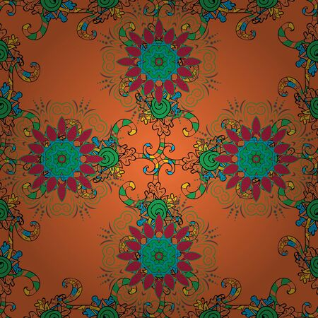 Ethnic texture. Vintage decorative ornament on black, green and orange colors. Colored mandala pattern, Arabic background. Orient, symmetry lace. Vector East, Islam, Indian, motif, revival swirling.