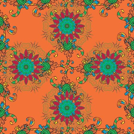 Vintage Invitation or wedding card with mandala pattern and elegant floral elements. Vector template greeting card, invitation and advertising banner, brochure on a black, orange and green colors. 版權商用圖片