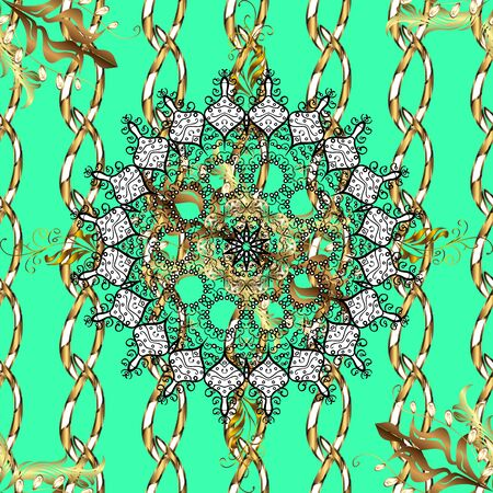 Henna tattoo style on a green, brown and white colors. Indian floral paisley medallion banners. Can be used for textile, greeting card, coloring book, phone case print. Vector ethnic Mandala ornament. Stock Photo