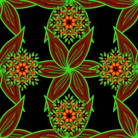 Multicologreen, red and black elegant little flowers and funny bugs on a green, red and black colors, vector texture, illustration.