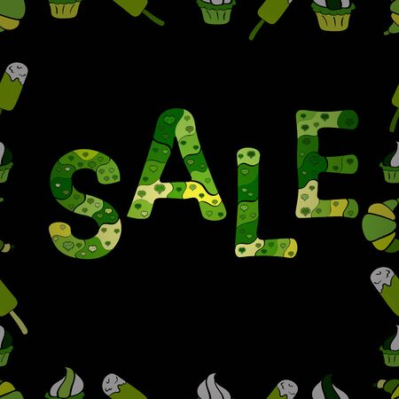 Picture in green, black and yellow colors. Vector illustration. For sale web banners, posters. Good for social media, email, print, ads design and promotional material. Seamless pattern. Stockfoto