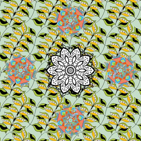 Modern floral background. Amazing seamless floral pattern with bright colorful flowers and leaves on a yellow, neutral and black colors. The elegant the template for fashion prints. Folk style.