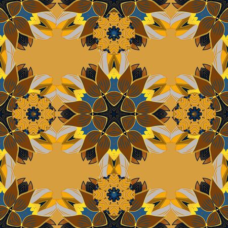 Vector texture for prints, fabric, sketchs, textile. Embroidery floral seamless pattern. Colorful grunge flourish abstract background with colobrown, yellow and blue flowers. Reklamní fotografie